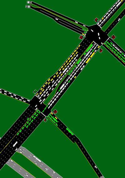 Corsim Simulation of a mess at an interchange.