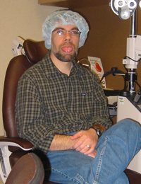 Pre-LASIK operation photo of Bill