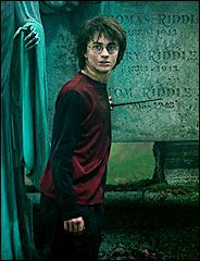 Harrry Potter in the Cemetery; presumably preparing to duel.