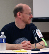 Phil Plait at Dragon*Con '06, during a Science in Podcasting session