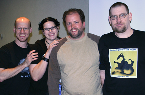 The Hosts of the Science in Science Podcasting session at Dragon*Con '06.  (LtR) Phil Plait, Swoopy, Fraser Cain, Derek Colanduno
