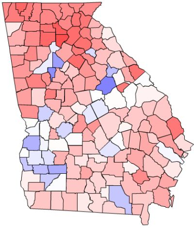 County Breakdown of Purdue/Taylor wins for the Georgia Governor Race. Courtesy CNN.com